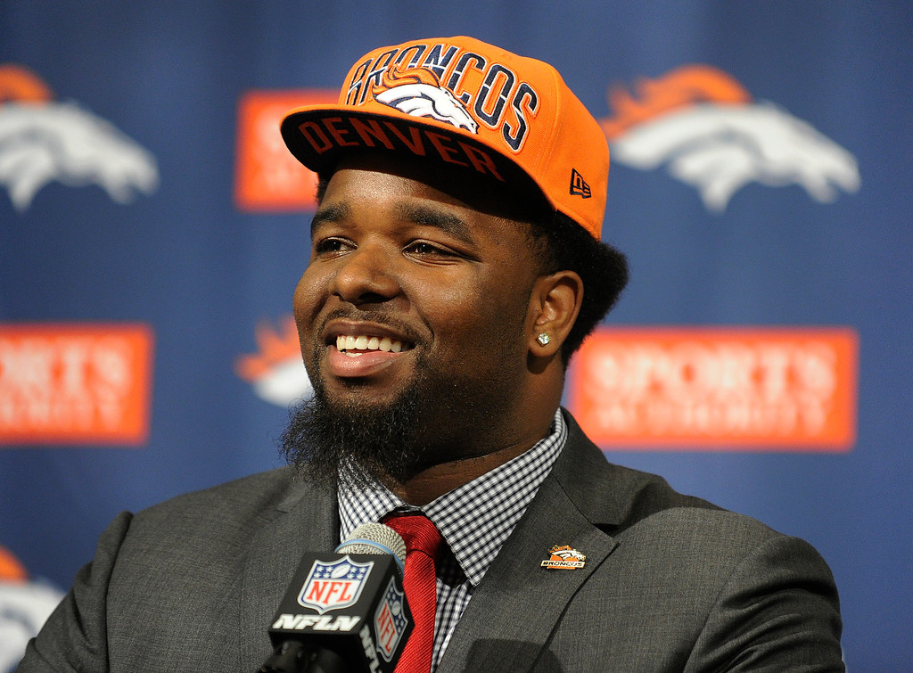 . DENVER, CO. - APRIL 25:  The Denver Broncos first draft choice, Sylvester Williams from North Carolina, talked to the media at team headquarters Friday evening, April 26, 2013. Photo By Karl Gehring/The Denver Post