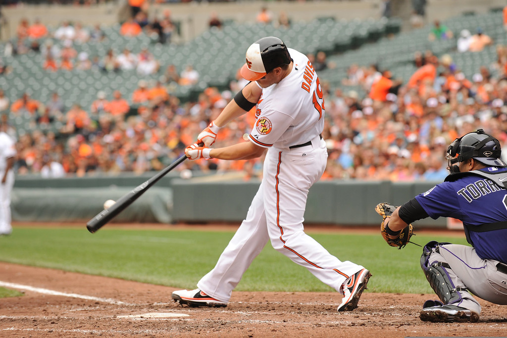 . Chris Davis #19 of the Baltimore Orioles singles in the third inning during a baseball game against the Colorado Rockies on August 18, 2013 at Oriole Park at Camden Yards in Baltimore, Maryland.  The Orioles won 7-2.  (Photo by Mitchell Layton/Getty Images)