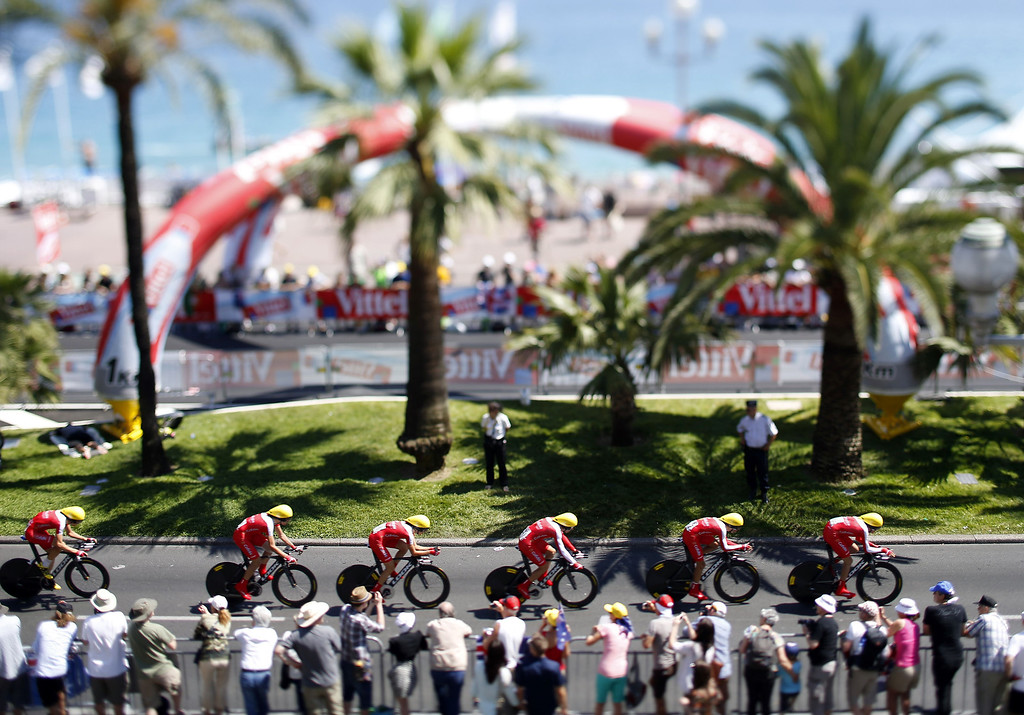 . A picture taken with a tilt and shift lens on July 2, 2013 shows cyclists of the Cofidis team riding during the 25 km team time-trial and fourth stage of the 100th edition of the Tour de France cycling race in Nice, French Riviera.    VALERY HACHE/AFP/Getty Images