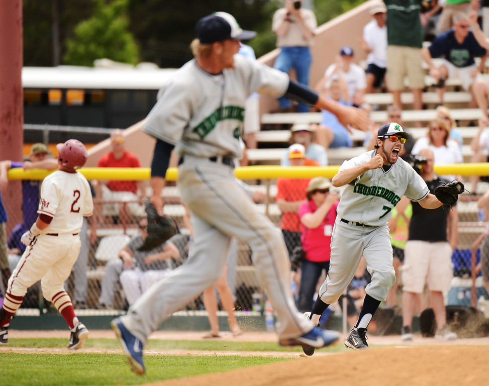 . DENVER, CO. - MAY 25: A.J. Jacobs of ThunderRidge HIgh School (7) celebrates winning of 5A baseball state championship game against Rocky Mountain High School at All City Field. Denver, Colorado. May 25, 2013. ThunderRidge won 2-1. (Photo By Hyoung Chang/The Denver Post)