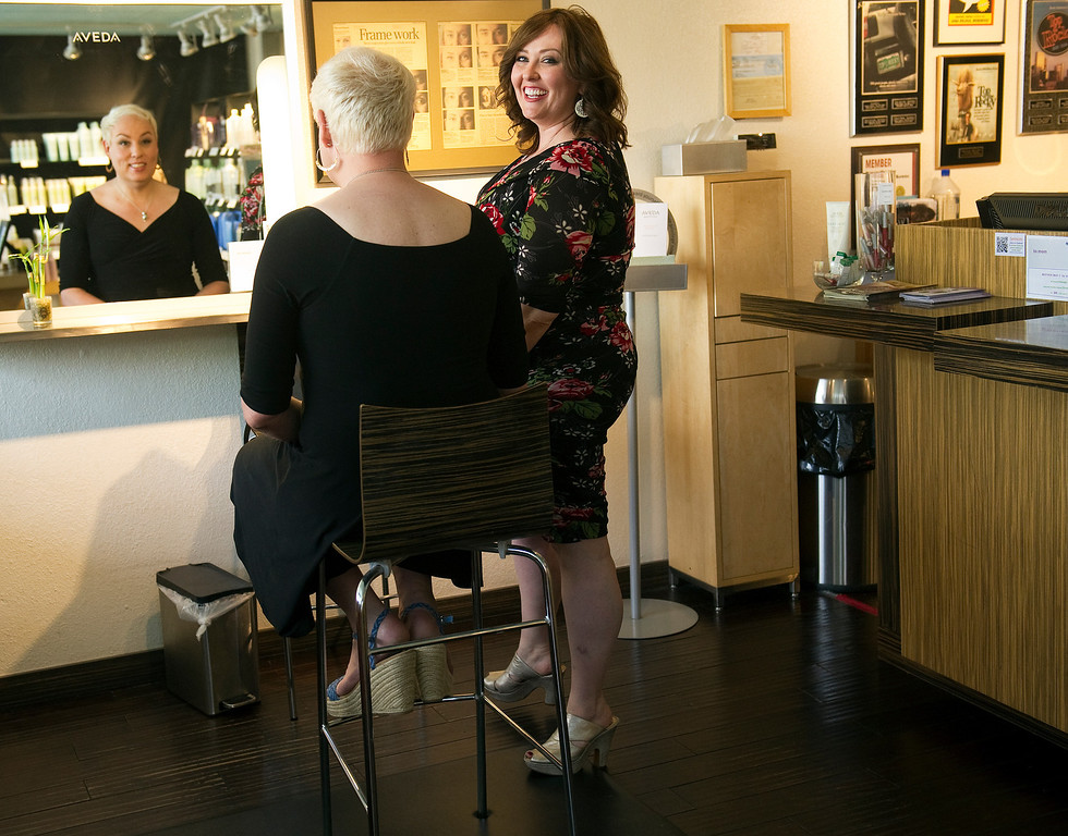 . Sara, right, and Koko  on  Monday, June 3, 2013 at Sara\'s salon Berenices where they met over makeup in Denver.    (Photo By Cyrus McCrimmon/The Denver Post)