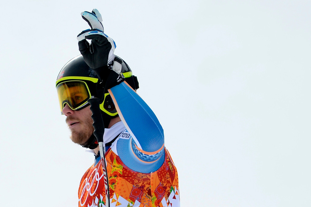 . SOCHI, RUSSIA - FEBRUARY 09: Norway\'s Kjetil Jansrud turns in a 2:06:33 third-place finish during the alpine skiing men\'s downhill final. Sochi 2014 Winter Olympics at the Rosa Khutor Alpine Resort on Sunday, February 9, 2014. (Photo by AAron Ontiveroz/The Denver Post)