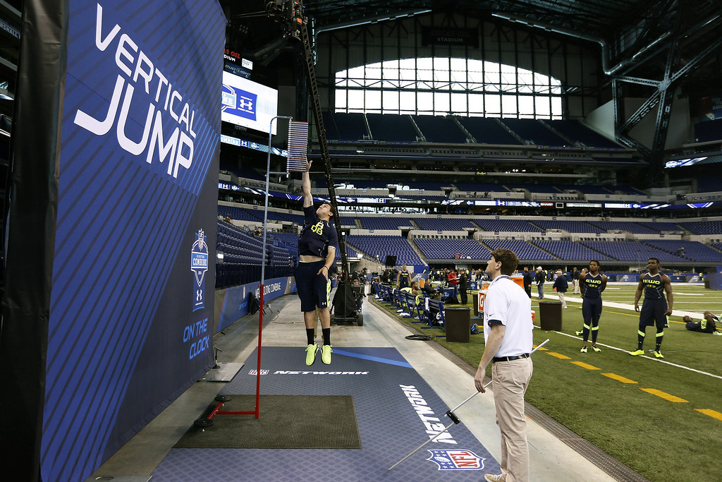 . Former Texas A&M quarterback Johnny Manziel takes part in the vertical jump during the 2014 NFL Combine at Lucas Oil Stadium on February 23, 2014 in Indianapolis, Indiana. (Photo by Joe Robbins/Getty Images)