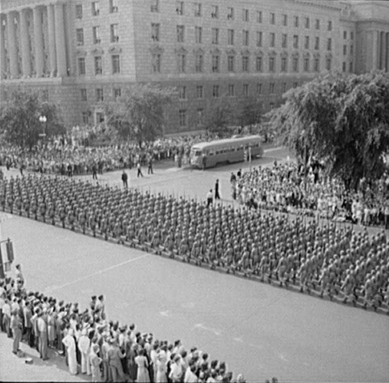 . Washington, D.C. Memorial Day parade, 1942. Royden Dixon, Photographer.  Courtesy the Library of Congress