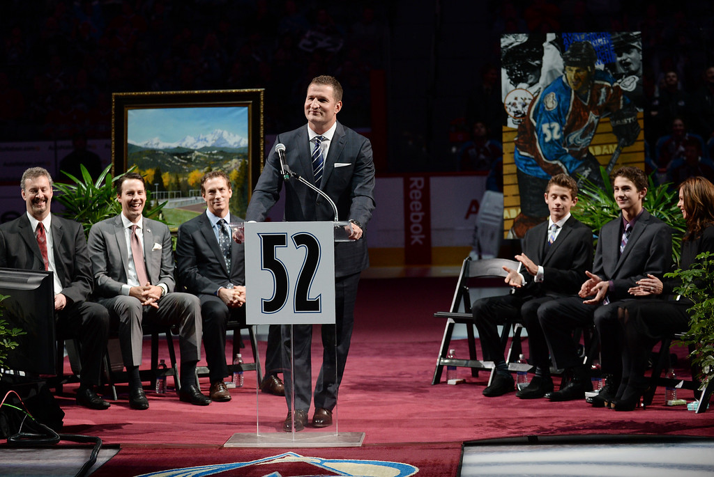 . Adam Foote, former Colorado Avalanche defenseman, during his retirement ceremony at Pepsi Center in Denver, Colorado. November 02, 2013. The Avalanche retired Foote\'s number 52 jersey. (Photo by Hyoung Chang/The Denver Post)