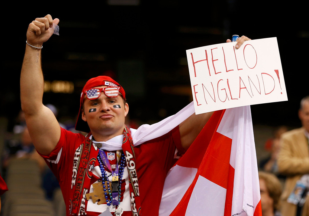 . A San Francisco 49ers fan is seen before his team pays the Baltimore Ravens in the NFL Super Bowl XLVII football game in New Orleans, Louisiana, February 3, 2013.  REUTERS/Jeff Haynes