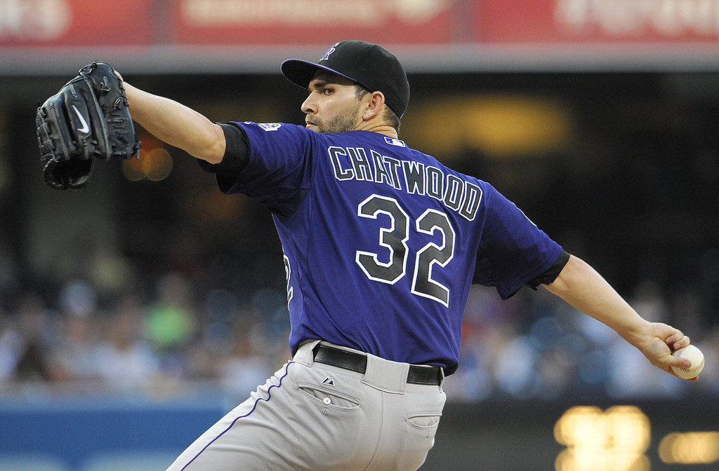 . Tyler Chatwood #32 of the Colorado Rockies pitches during the first inning of a baseball game against the San Diego Padres at Petco Park on July 8, 2013 in San Diego, California.  (Photo by Denis Poroy/Getty Images)