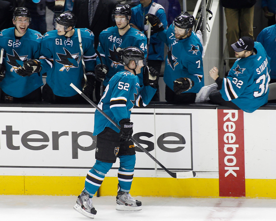 . San Jose Sharks\' Matt Irwin (52) celebrates with teammates after scoring a goal against the Colorado Avalanche during the second period of an NHL hockey game, Monday, Dec. 23, 2013, in San Jose, Calif. (AP Photo/George Nikitin)