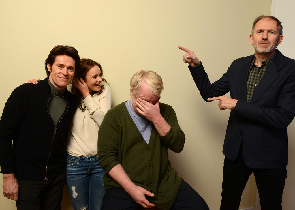 . Actors Willem Dafoe, Rachel McAdams, and Philip Seymour Hoffman and director Anton Corbijn pose for a portrait during the 2014 Sundance Film Festival at the WireImage Portrait Studio at the Village At The Lift on January 19, 2014 in Park City, Utah.  (Photo by Larry Busacca/Getty Images)