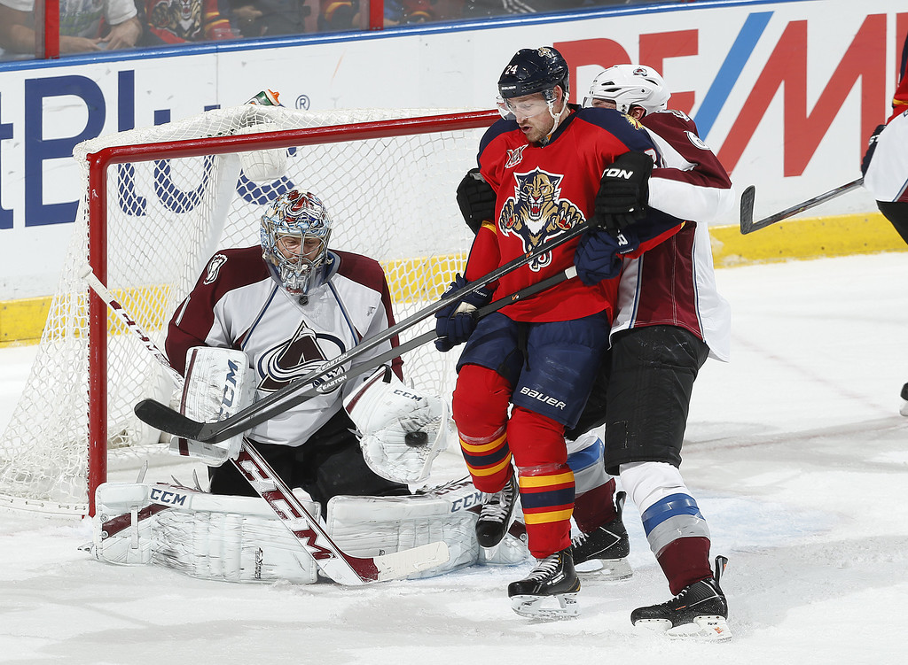 . SUNRISE, FL - JANUARY 24: Goaltender Semyon Varlamov #1 of the Colorado Avalanche stops a tip in attempt by Brad Boyes #24 of the Florida Panthers at the BB&T Center on January 24, 2014 in Sunrise, Florida. The Avalanche defeated the Panthers 3-2. (Photo by Joel Auerbach/Getty Images)