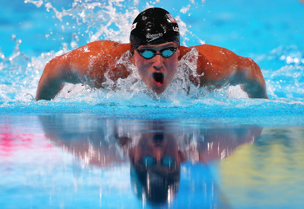 . BARCELONA, SPAIN - AUGUST 03:  Ryan Lochte of the USA competes during the Swimming Men\'s Butterfly 100m Final on day fifteen of the 15th FINA World Championships at Palau Sant Jordi on August 3, 2013 in Barcelona, Spain.  (Photo by Alexander Hassenstein/Getty Images)