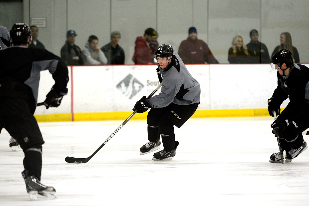 . Colorado Avalanche center Michael Sgarbossa #43 drives  toward the goal during training camp practice at Family Sports Center in Centennial, Colorado, Monday, January 14,  2013.    Joe Amon, The Denver Post