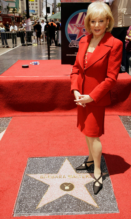 """. Television newswoman Barbara Walters poses after receiving a star on the Hollywood Walk of Fame Thursday, June 14, 2007, in Los Angeles. Walters is a nominee as both a host and producer of \""""The View\'\' television talk show, as well as a presenter at the Daytime Emmy Awards in the Kodak Theatre in Los Angeles on June 15. (AP Photo/Damian Dovarganes)"""