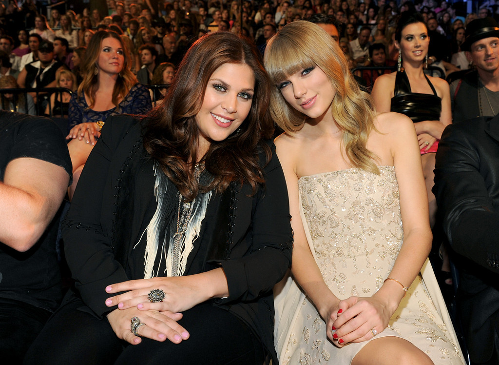 . Hillary Scott, left, and Taylor Swift pose in the audience at the 2013 CMT Music Awards at Bridgestone Arena on Wednesday, June 5, 2013, in Nashville, Tenn. (Photo by Frank Micelotta/Invision/AP)