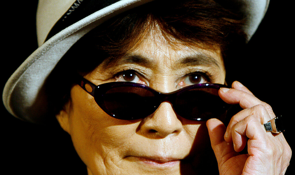 . Japanese artist Yoko Ono is seen at a news conference at the Contemporary Art Center in Warsaw, Poland, Wednesday, Sept. 17, 2008 where she presented a selection of her works of art. (AP Photo/Czarek Sokolowski)