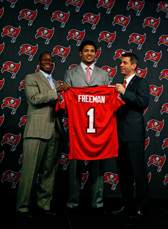 . Josh Freeman, Kansas State Selected 17th overall by the Buccaneers in 2009 Freeman�s brief NFL career has been marked by peaks and valleys. In the 2009 and �11 seasons, Freeman combined for 26 touchdowns and 40 interceptions, and the Bucs went a combined 7-17. In 2010 and �12, Freeman was among the better quarterbacks in the NFL, passing for 52 touchdowns and just 23 interceptions. In those two seasons, Tampa Bay went 17-15. GRADE: B-. With a little more consistency, his grade should climb. (St. Petersburg Times photo by Brian Cassella)