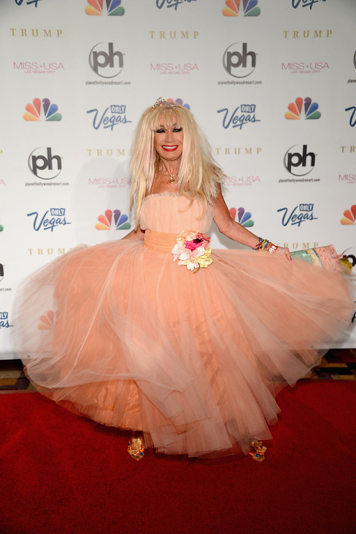. Fashion designer and pageant judge Betsey Johnson arrives at the 2013 Miss USA pageant at Planet Hollywood Resort & Casino on June 16, 2013 in Las Vegas, Nevada.  (Photo by Ethan Miller/Getty Images)