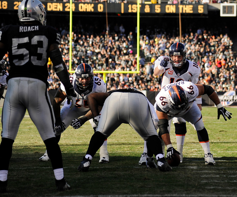. Quarterback Peyton Manning (18) of the Denver Broncos lines up the offense before setting the season passing yardage record with a throw to wide receiver Demaryius Thomas (88) for a touchdown against the Oakland Raiders at O.co Coliseum December 29, 2013 Oakland, Calif. (Photo By Joe Amon/The Denver Post)