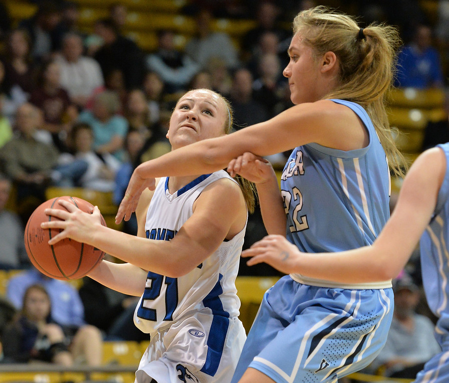 . Broomfield\'s Nicole Lehrer goes to the basket  against Valor Christian\'s Caroline Bryan during the final four 4A state game at Coors Event Center. (David R. Jennings/Broomfield Enterprise)