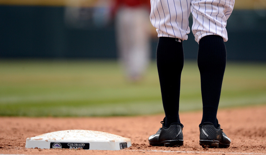. DENVER, CO. - APRIL 21: Eric Young Jr. (1) of the Colorado Rockies stands at first base during the second inning against the Arizona DiamondBacks April 21, 2013 at Coors Field. (Photo By John Leyba/The Denver Post)