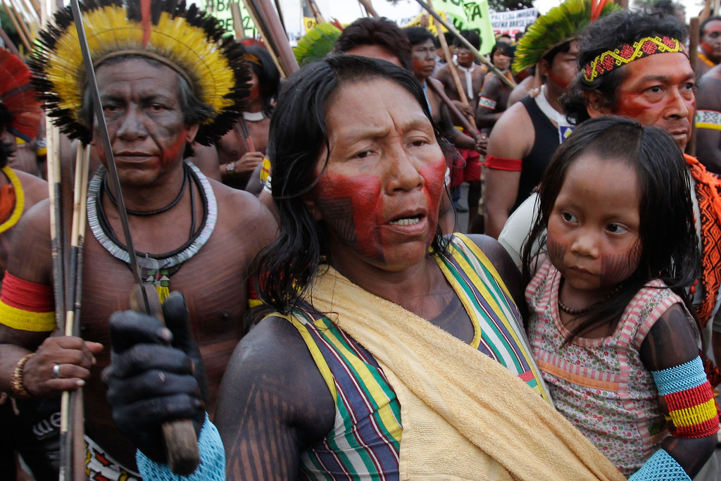 . Indians from the Kayapo tribe gather for the the first day of the National Indigenous Mobilization protest in Brasilia, Brazil, Tuesday, Oct. 1, 2013.   (AP Photo/Eraldo Peres)