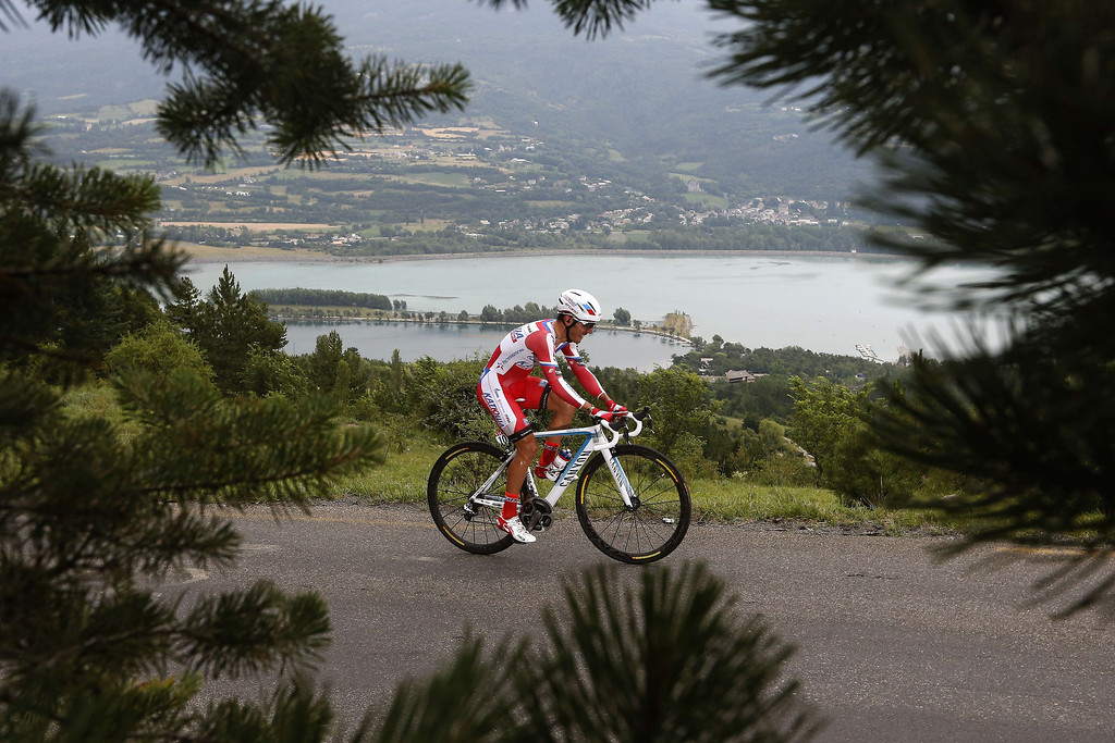 . Spain\'s Joaquim Rodriguez Oliver rides during the 32 km individual time-trial and seventeenth stage of the 100th edition of the Tour de France cycling race on July 17, 2013 between Embrun and Chorges, southeastern France.  AFP PHOTO / JOEL SAGETJOEL SAGET/AFP/Getty Images