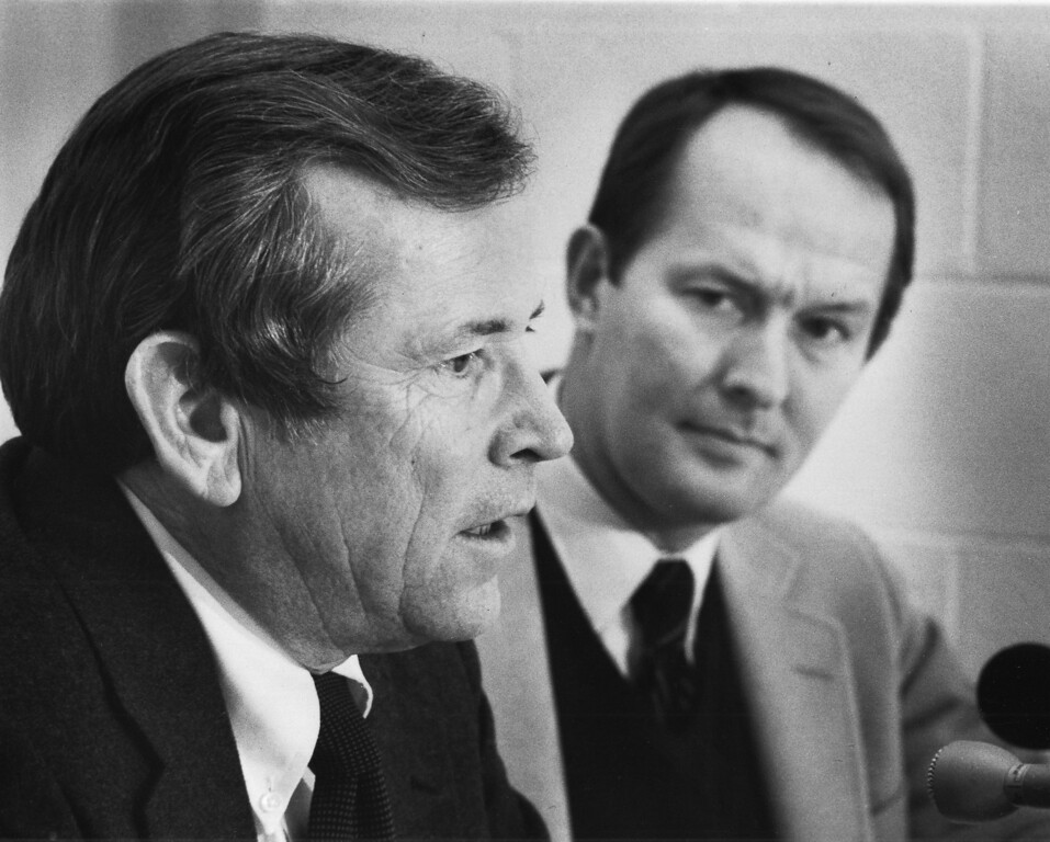 . FILE - In a Feb. 11, 1982, file photo, U.S. Sen. Howard H. Baker Jr., left, and Tennessee Gov. Lamar Alexander (now an U.S. senator) meet the press during the annual Lincoln Day Dinner in Knoxville, Tenn. Baker died Thursday, June 26, 2014, from complications from a stroke in his hometown of Huntsville, Tenn, at age 88. (AP Photo/Knoxville News Sentinel, File)