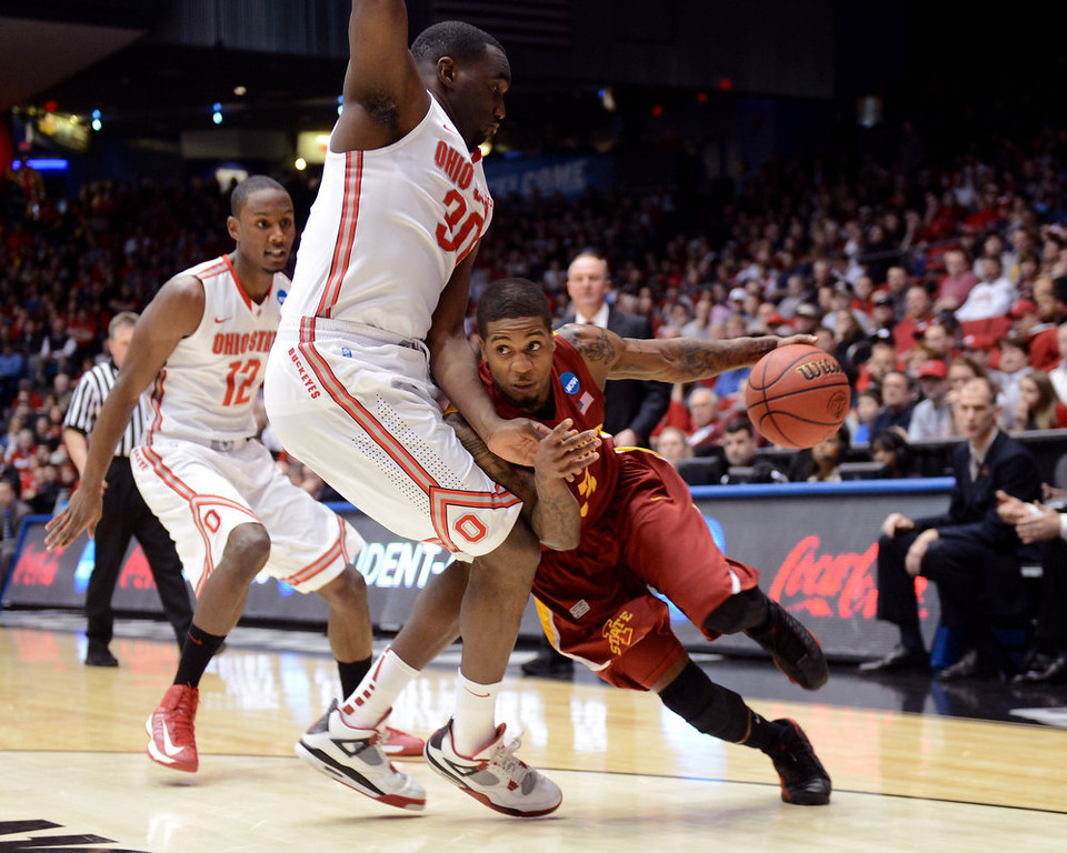 . Korie Lucious #13 of the Iowa State Cyclones drives with the ball against Evan Ravenel #30 of the Ohio State Buckeyes in the first half during the third round of the 2013 NCAA Men\'s Basketball Tournament at UD Arena on March 24, 2013 in Dayton, Ohio.  (Photo by Jason Miller/Getty Images)