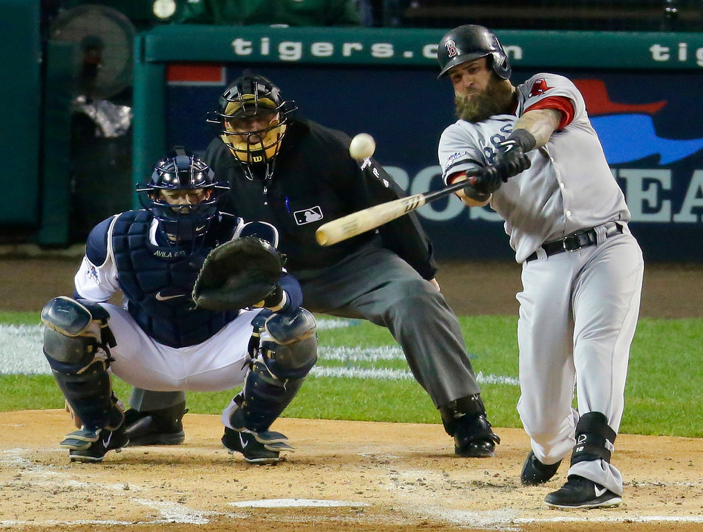 . Boston Red Sox\'s Mike Napoli hits a home run in the second inning during Game 5 of the American League baseball championship series against the Detroit Tigers, Thursday, Oct. 17, 2013, in Detroit. (AP Photo/Charlie Riedel)