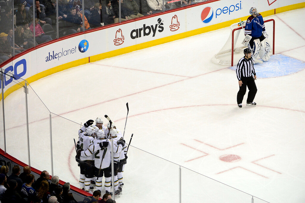 . DENVER, CO. - FEBRUARY 4: Semyon Varlamov (1) of the Colorado Avalanche reacts to giving up a goal to Jamie Benn (14) of the Dallas Stars during the second period of action. Colorado Avalanche versus the Dallas Stars at the Pepsi Center on February 4, 2012. (Photo By AAron Ontiveroz/The Denver Post)