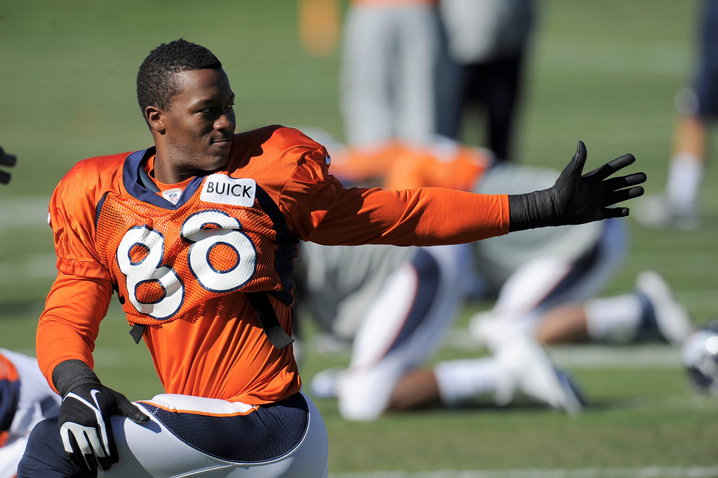 . Denver Broncos wide receiver Demaryius Thomas (88) stretches during practice October 23, 2013 at Dove Valley. (Photo by John Leyba/The Denver Post)