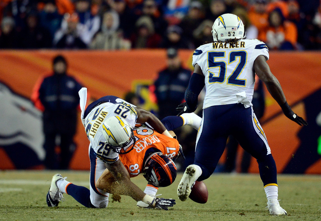 . San Diego Chargers cornerback Shareece Wright (29) breaks up a pass intended for Denver Broncos wide receiver Eric Decker (87) during the second half.  The Denver Broncos vs. the San Diego Chargers at Sports Authority Field at Mile High in Denver on December 12, 2013. (Photo by AAron Ontiveroz/The Denver Post)