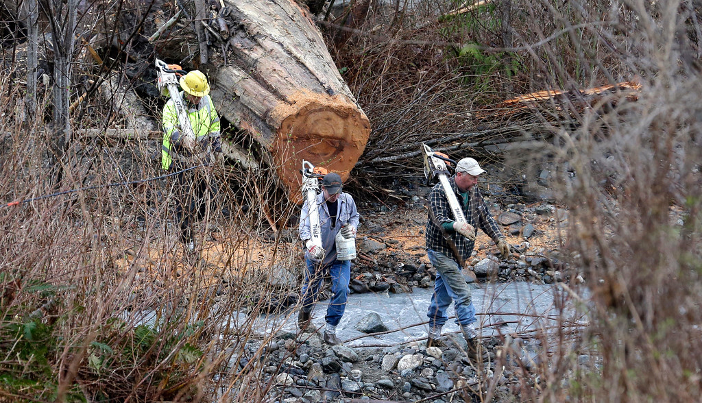 . Volunteers with chainsaws cross a small creek as they head to the scene of a deadly mudslide Tuesday, March 25, 2014, in Oso, Wash. (AP Photo/Elaine Thompson)