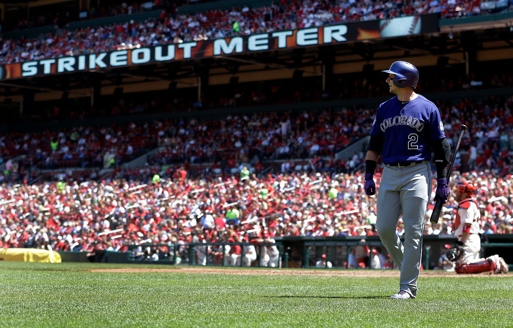 . Colorado Rockies\' Troy Tulowitzki walks back to the dugout after striking out in the fifth inning of a baseball game against the St. Louis Cardinals Saturday, May 11, 2013, in St. Louis. The Cardinals won 3-0. (AP Photo/Jeff Roberson)