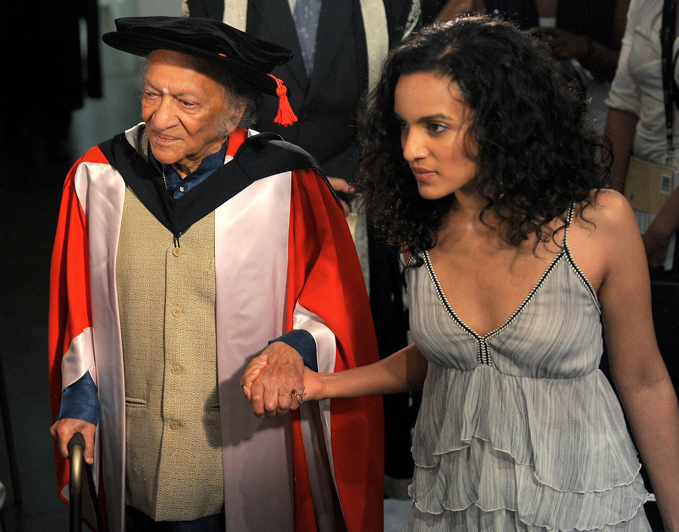 . Sitar legend, composer, teacher and writer, Ravi Shankar (L) walks hand in hand with his daughter Anoushka (R) after receiving the University of Melbourne\'s highest honour, the degree of Doctor of Laws, at a special conferring ceremony in Melbourne on March 19, 2010.  The honorary degree of Doctors of Laws is awarded by the university to recognise people who are distinguished by eminent public service or outstanding cultural achievement.  Other recipients include the Dalai Lama, Aung San Suu Kyi, Mary Robinson and Germaine Greer.  AFP PHOTO/William WEST (Photo credit should read WILLIAM WEST/AFP/Getty Images)