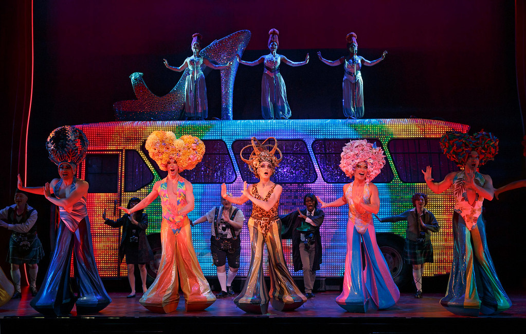 """. The national touring company, \""""Priscilla Queen of the Desert the Musical\"""" shakes its groove thang at the Buell Theatre, through Sept. 15. (Photo by Joan Marcus, Provided by Denver Center Attractions)"""