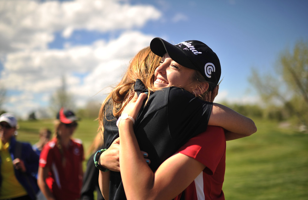 . ENGLEWOOD, CO. - MAY 21 : Kala Keltz of Montrose High School, right, celebrates winning of State 4A Girl\'s Golf individual Championship with her mother Michelle by the 18th hole of Broken Tree Golf Course. Englewood, Colorado. May 21, 2013. (Photo By Hyoung Chang/The Denver Post)
