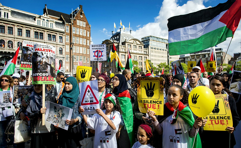 . People take part in a demonstration against Israel\'s military operations in Gaza and in support of the Palestinian people on August 23, 2014 in Amsterdam. Koen van Weel/AFP/Getty Images