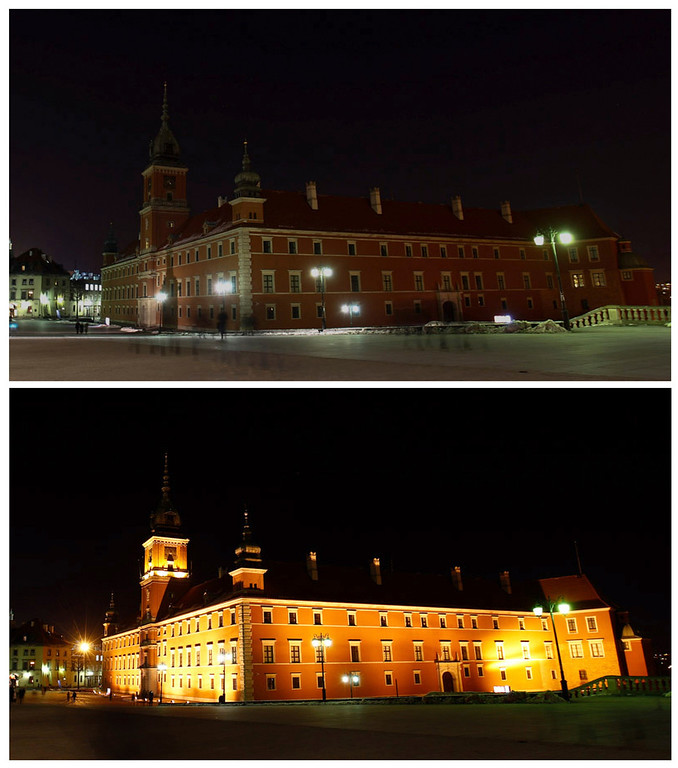 . The Royal Castle in Warsaw is seen during (top) and illuminated minutes before the start of Earth Hour, in this combination picture taken March 23, 2013. Earth Hour, when everyone around the world is asked to turn off lights for an hour from 8.30 p.m. local time, is meant as a show of support for tougher action to confront climate change. REUTERS/Peter Andrews