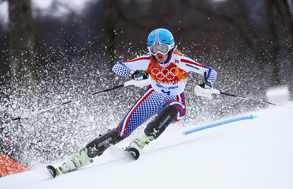 . Elena Yakovishina of Russia in action during the Alpine Skiing Women\'s Super Combined Slalom on day 3 of the Sochi 2014 Winter Olympics at Rosa Khutor Alpine Center on February 10, 2014 in Sochi, Russia.  (Photo by Doug Pensinger/Getty Images)
