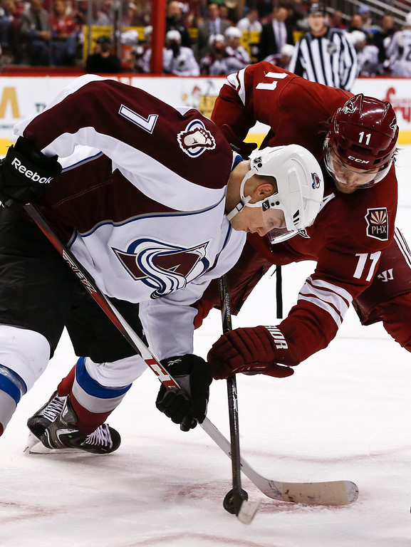 . Colorado Avalanche\'s John Mitchell (7) battles Phoenix Coyotes\' Martin Hanzal (11), of the Czech Republic, during a face off during the second period in an NHL hockey game, on Friday, April 26, 2013, in Glendale, Ariz.  The Avalanche defeated the Coyotes 5-4 in a shootout. (AP Photo/Ross D. Franklin)