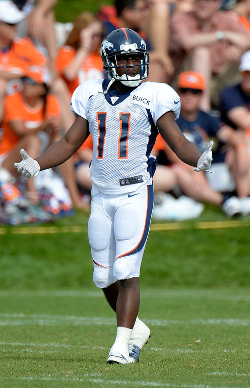 . Denver Broncos WR Trindon Holliday (11) heads to drills during training camp August 1, 2013 at Dove Valley. (Photo By John Leyba/The Denver Post)