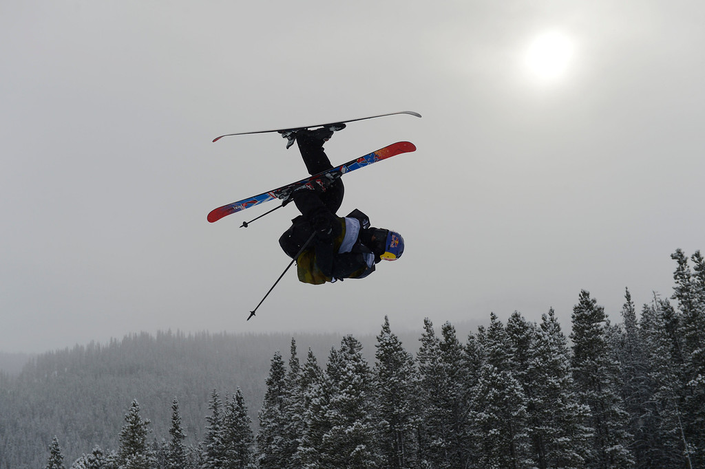 . Jesper Tjader, SWE, launches over the third jump at the U.S. Grand Prix slopestyle finals at the Copper Mountain ski area Saturday afternoon, December 21, 2013.  (Photo By Andy Cross / The Denver Post)