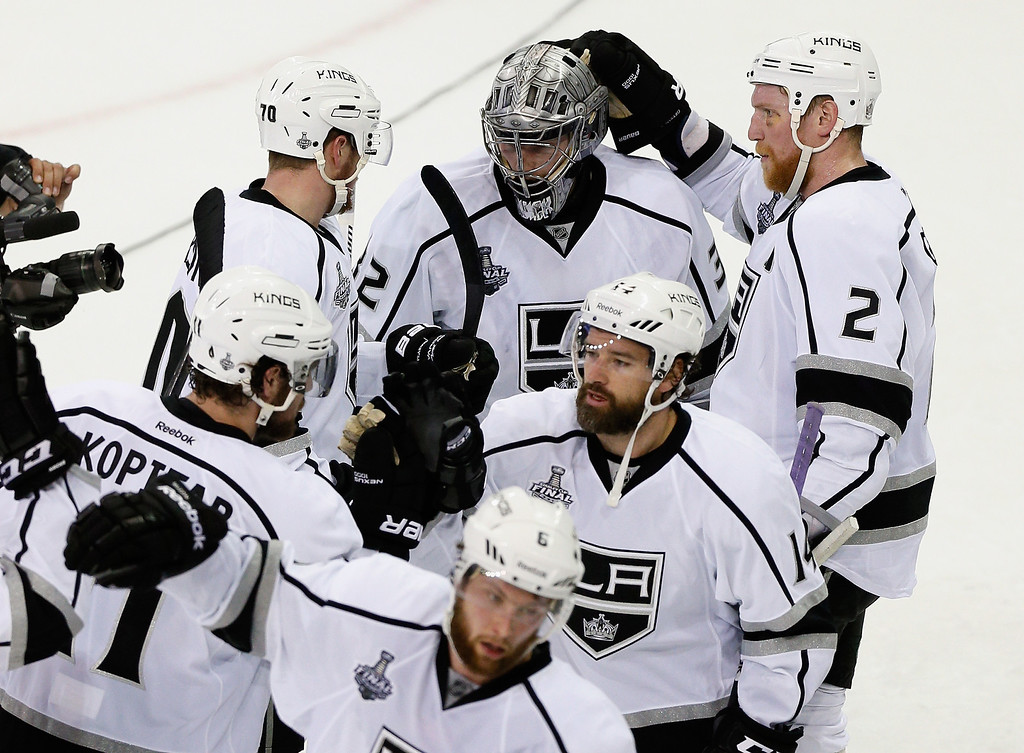 . The Los Angeles Kings celebrate their 3-0 victory over the New York Rangers in Game Three of the 2014 NHL Stanley Cup Final at Madison Square Garden on June 9, 2014 in New York, New York.  (Photo by Paul Bereswill/Getty Images)