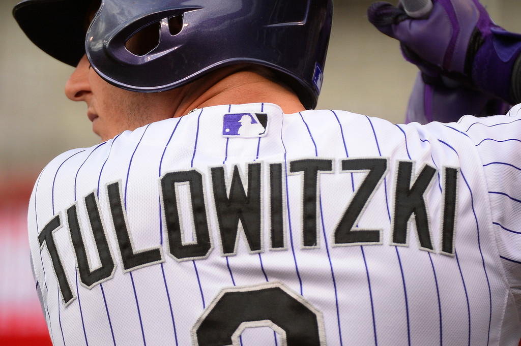 . DENVER, CO - JUNE 24: Colorado Rockies shortstop Troy Tulowitzki (2) warms up in the on deck circle in the first inning against the St. Louis Cardinals June 24, 2014 at Coors Field. (Photo by John Leyba/The Denver Post)