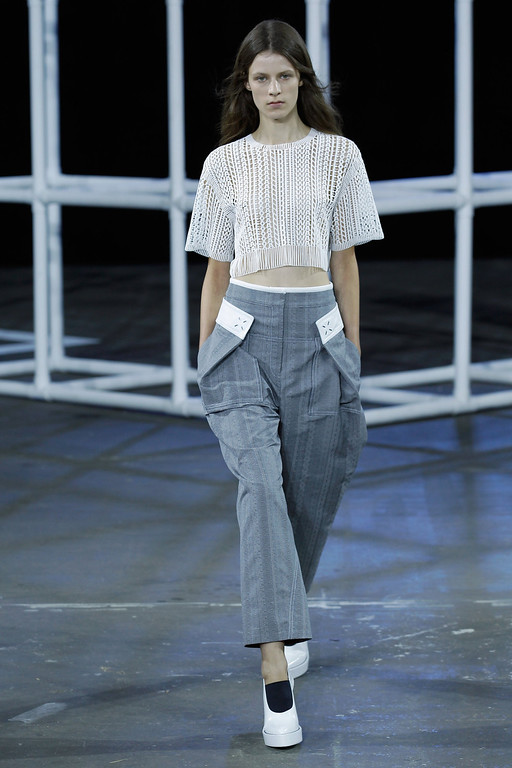 . A model walks the runway at the Alexander Wang fashion show during Mercedes-Benz Fashion Week Spring 2014 at Pier 94 on September 7, 2013 in New York City.  (Photo by Peter Michael Dills/Getty Images)