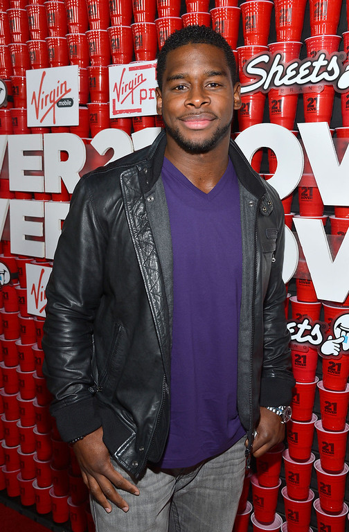 """. Football player Donald Butler attends Relativity Media\'s \""""21 and Over\"""" premiere at Westwood Village Theatre on February 21, 2013 in Westwood, California.  (Photo by Frazer Harrison/Getty Images for Relativity Media)"""