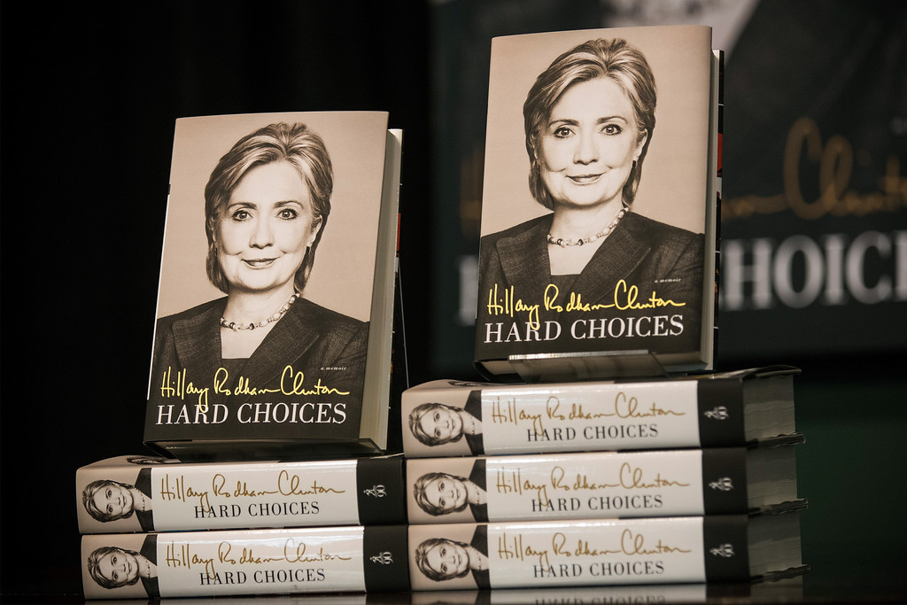 """. Copies of former Secretary of State Hillary Clinton\'s new book \""""Hard Choices\"""" sit at a Barnes & Noble prior to a book signing on June 10, 2014 in New York City.  (Photo by Andrew Burton/Getty Images)"""