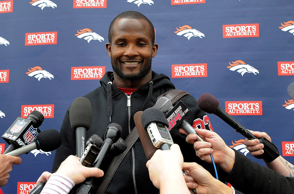 . Champ Bailey holds his press conference with the media after practice during the teams OTAs May 20, 2013 at Dove Valley. All offseason training activities (OTAs) are voluntary until the mandatory minicamp June 11-13. (Photo By John Leyba/The Denver Post)