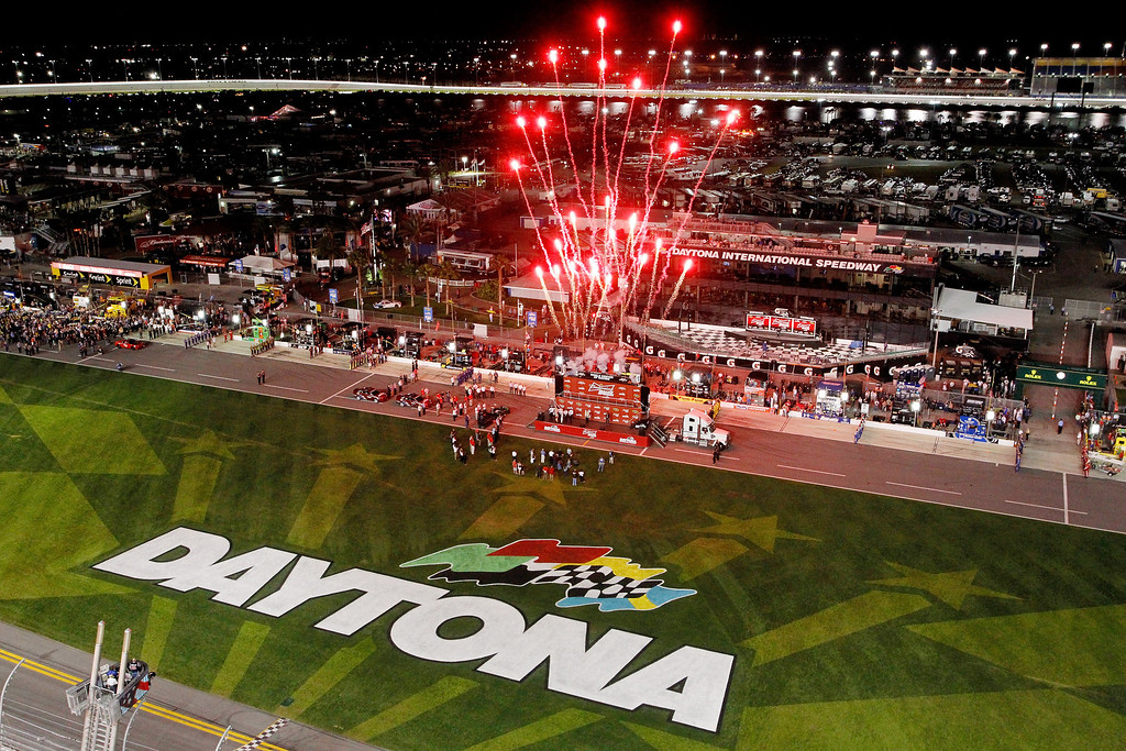 . Fireworks go off before the start of  NASCAR Sprint Cup Series Budweiser Duel 1 at Daytona International Speedway on February 20, 2014 in Daytona Beach, Florida.  (Photo by Brian Lawdermilk/Getty Images)